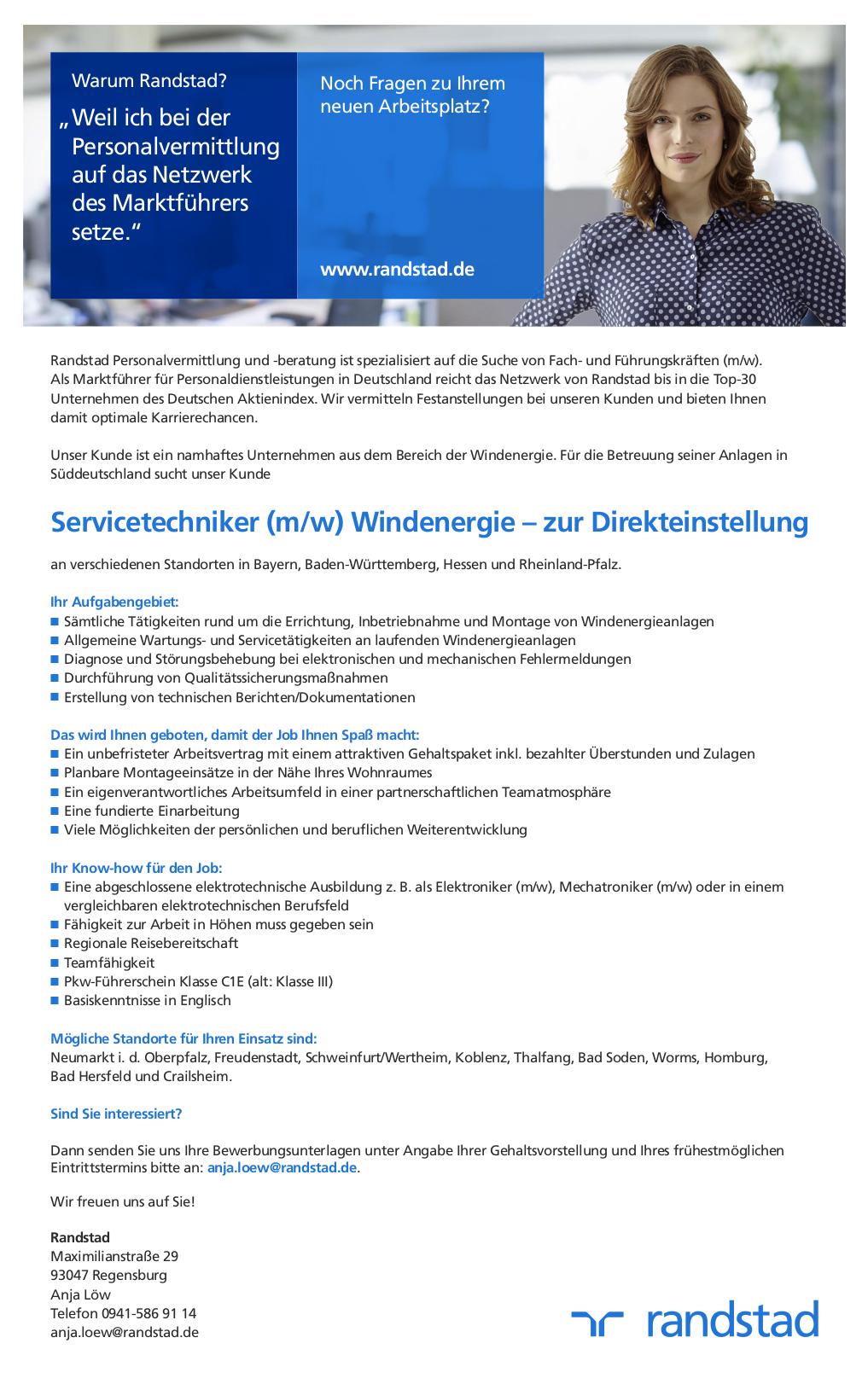 Servicetechniker Mw Windenergie Zur